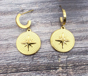 Esther Star Embellished Disc Earrings