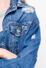 Load image into Gallery viewer, Delphie Distressed Denim Jacket
