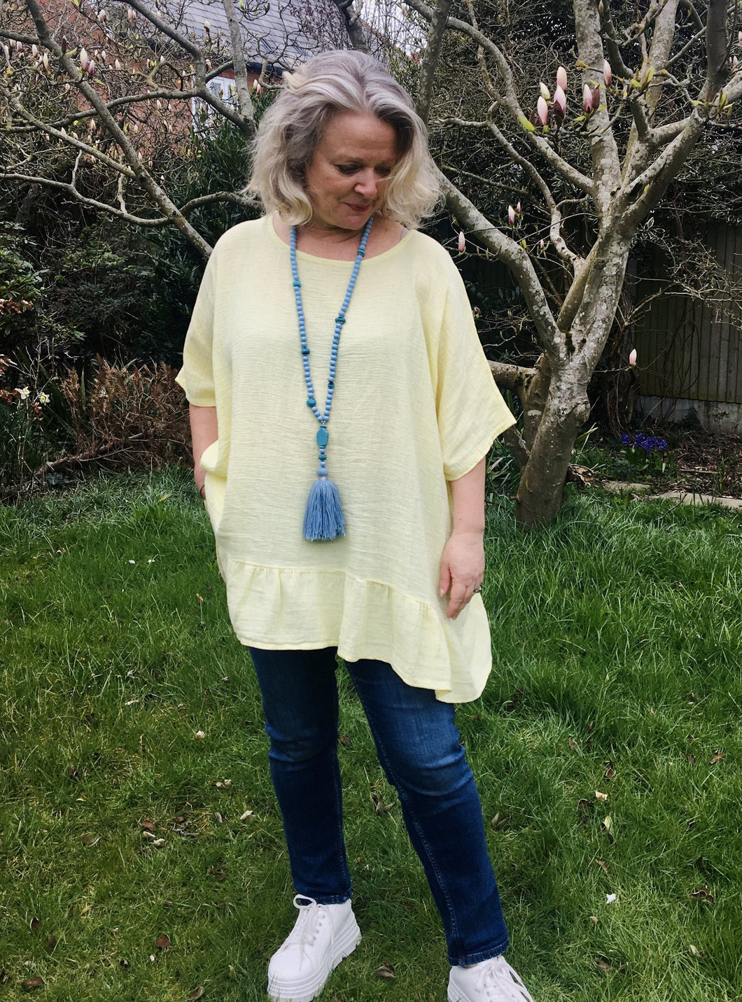 Donna Loose Weave Cotton Tunic Top