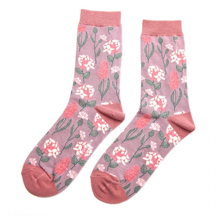 Pretty Floral Bamboo Socks