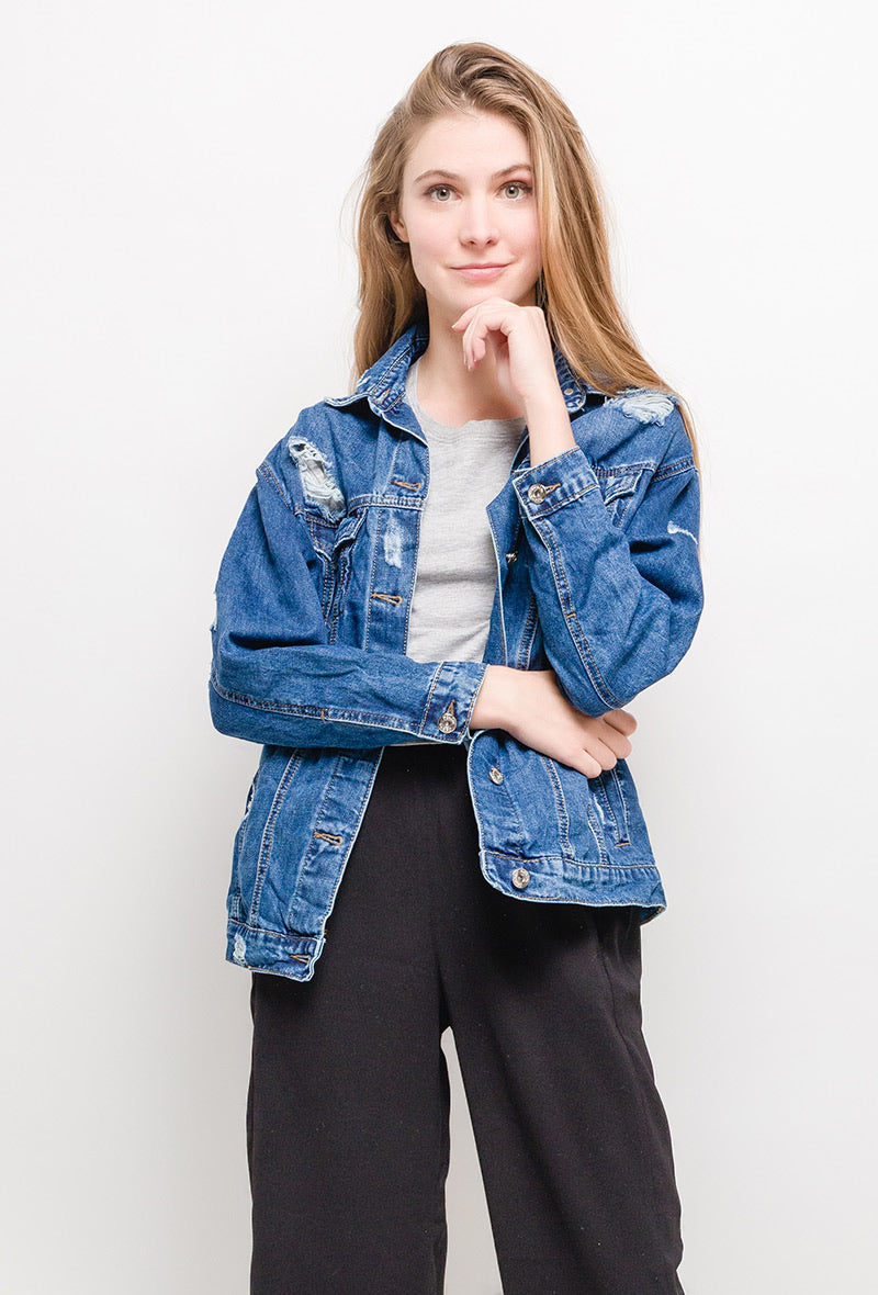 Delphie Distressed Denim Jacket
