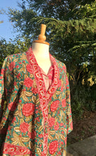 Load image into Gallery viewer, Serena Hand Printed Indian Cotton Kimono Gown