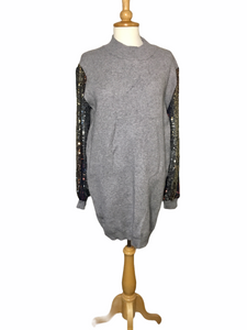 Serena Sequinned Sleeve Sweater Dress