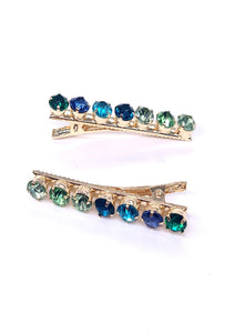 Peacock Palette Crystal Hair Slide Duo