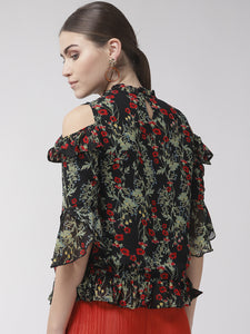 Women Black & Green Cold Shoulder Floral Print A-Line Top
