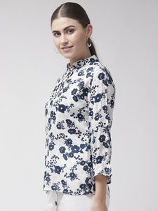 Women White & Navy Blue Floral Print Top