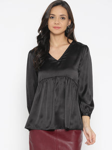 Women Black Solid Satin Finish A-Line Top