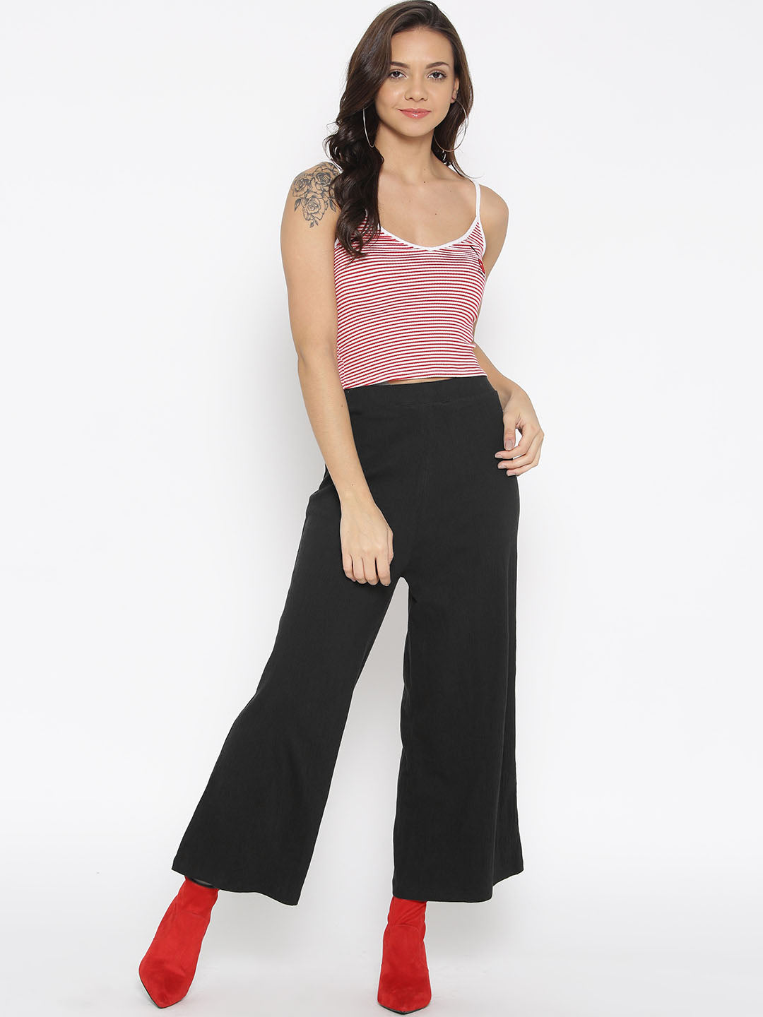 Women Black Wide Leg Solid Palazzos