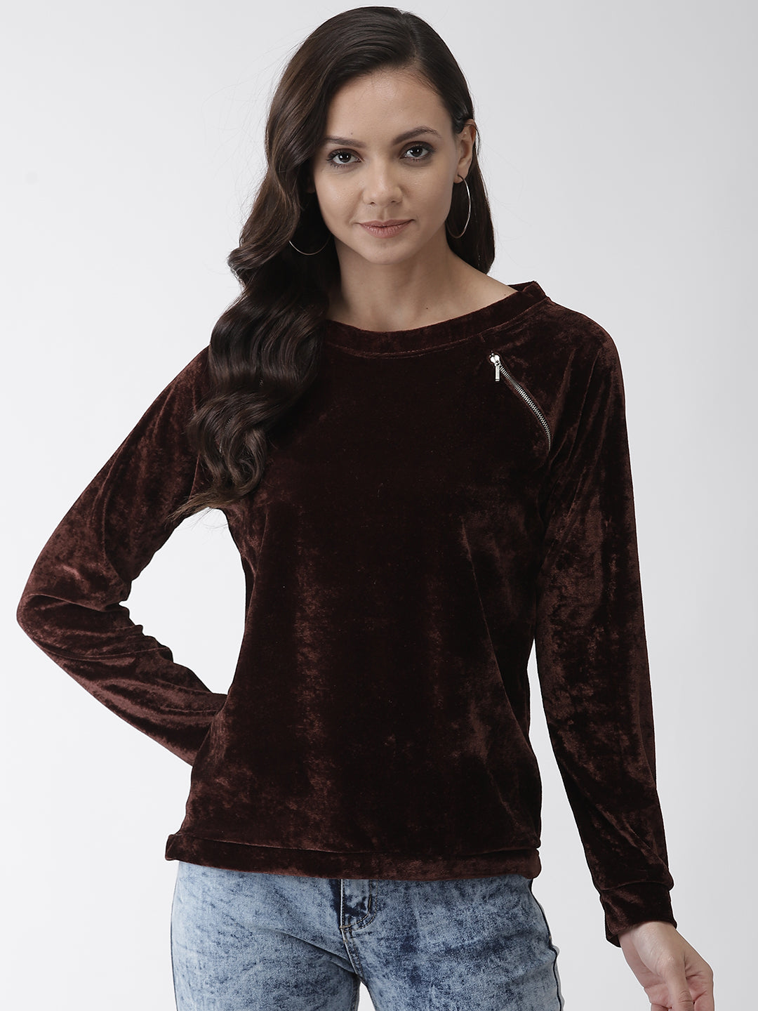 Women Coffee Brown Solid Top