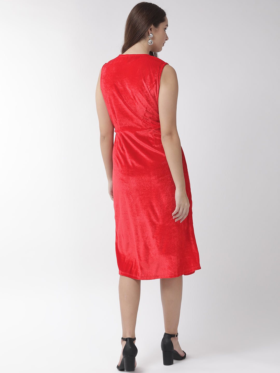 Women Red Solid Wrap Dress