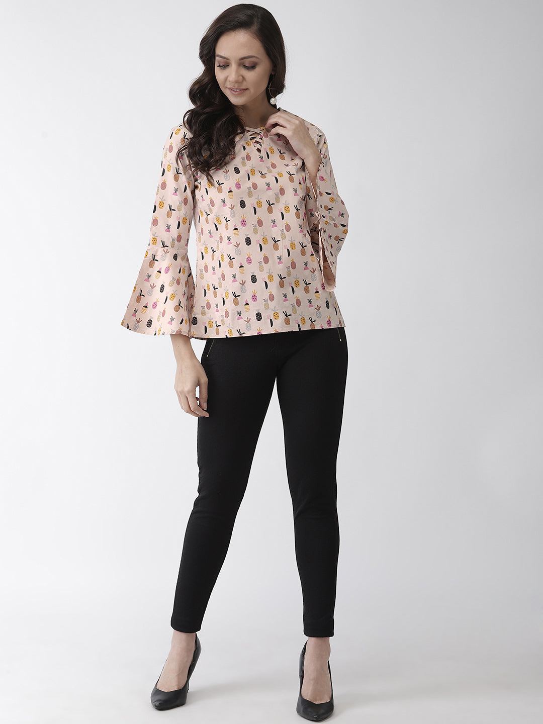 Pineapple print woven regular top