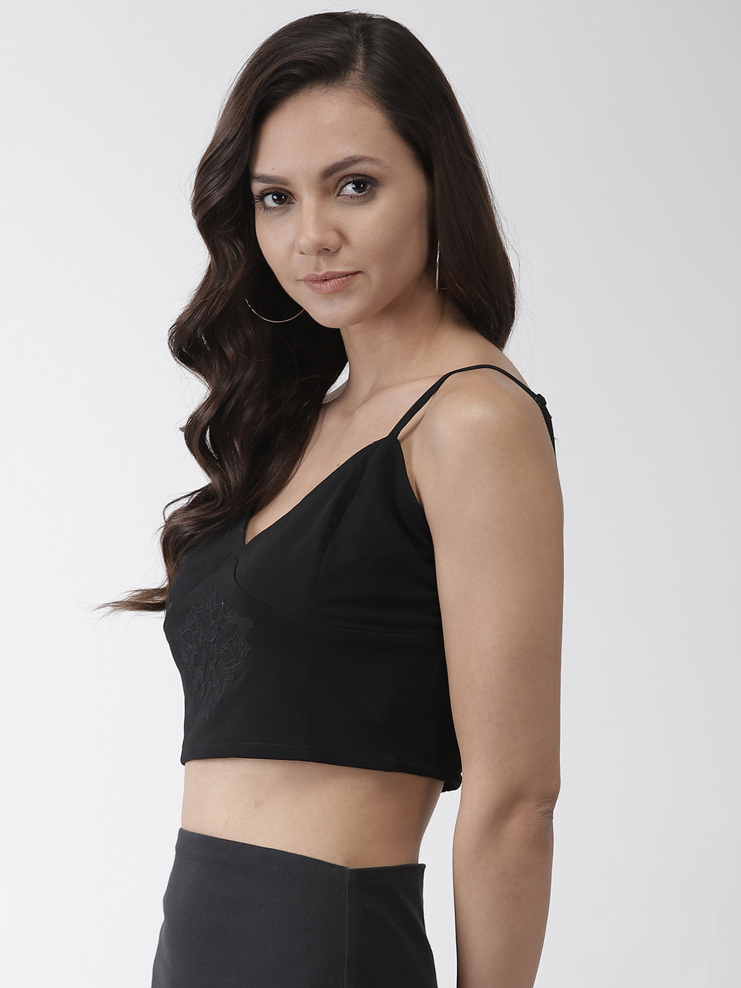 Women Black Solid Finish Crop Top