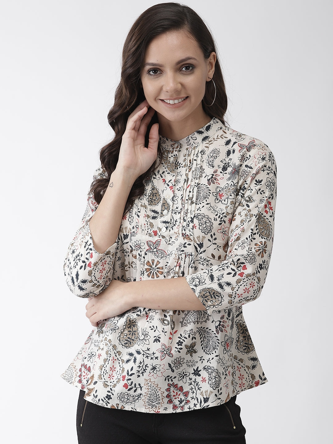 Floral printed woven regular top
