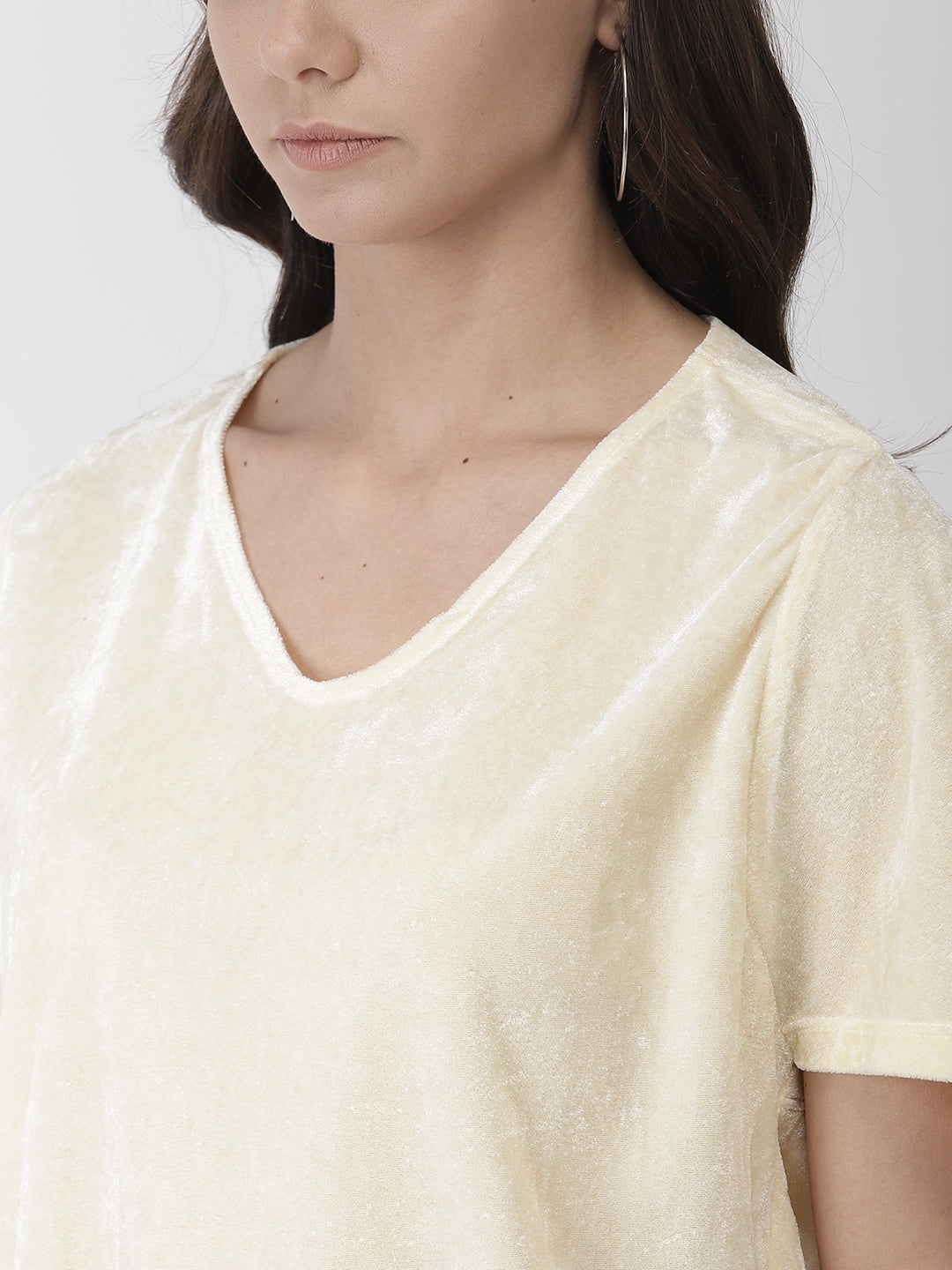Cream color woven boxy top