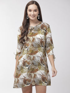 Women Green & White Tropical Printed A-Line Dress
