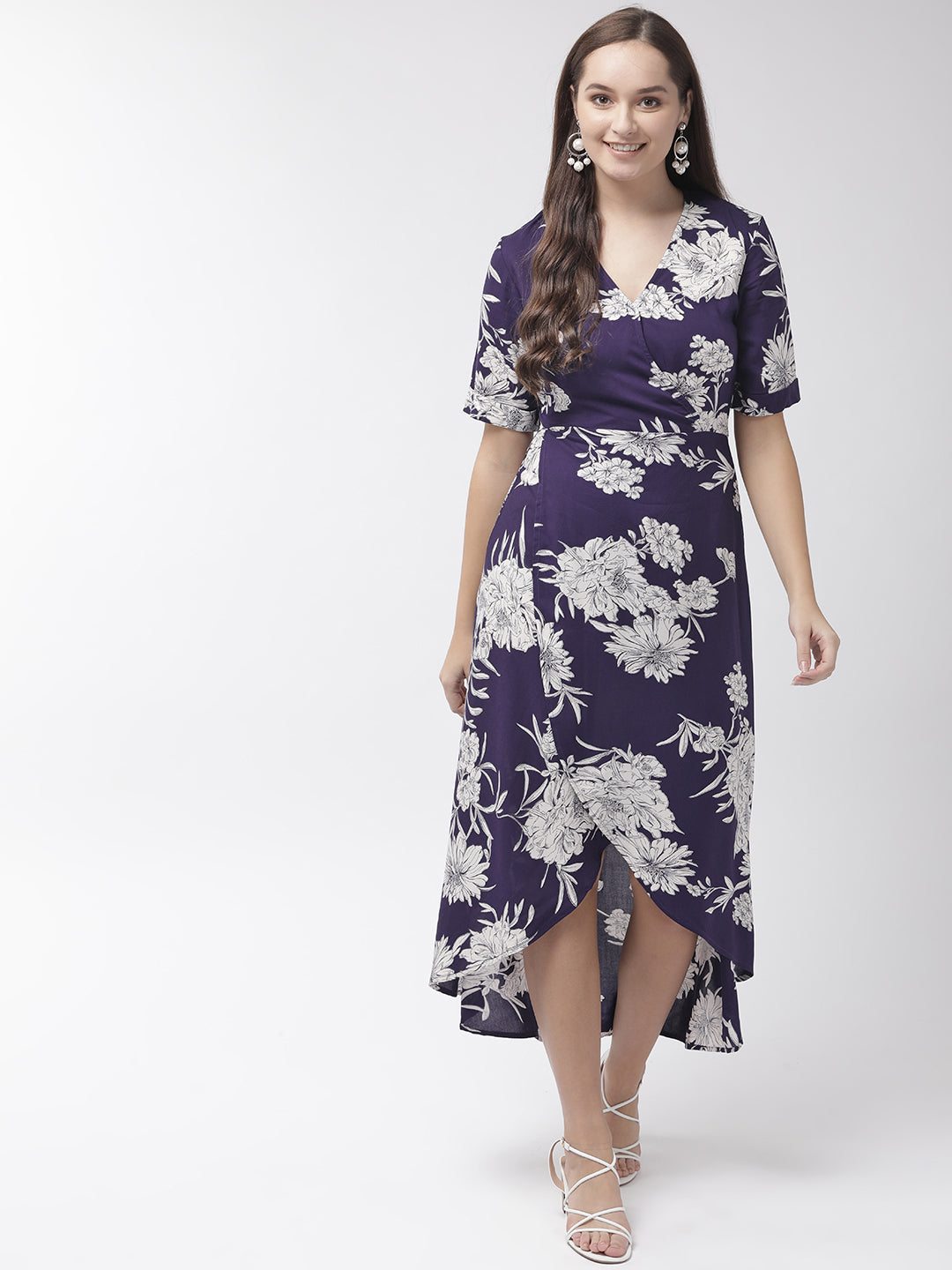 Women Navy Blue & White Floral Printed Tulip A-Line Dress