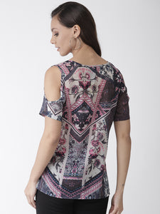 Multicolor printed woven regular top
