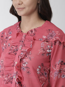 Floral printed semi-sheer woven regular top
