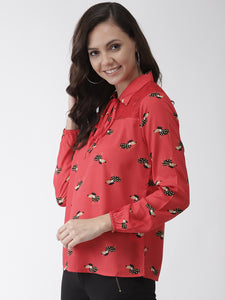 Women Red & Black Printed Top