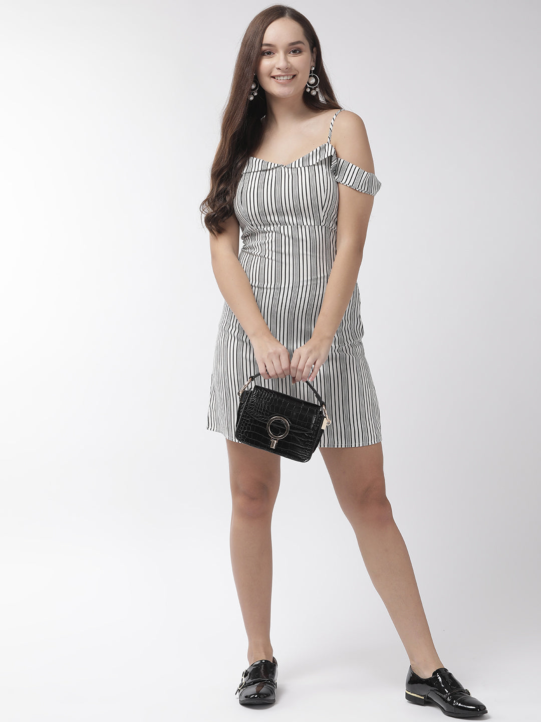 Women White & Black Striped A-Line Dress