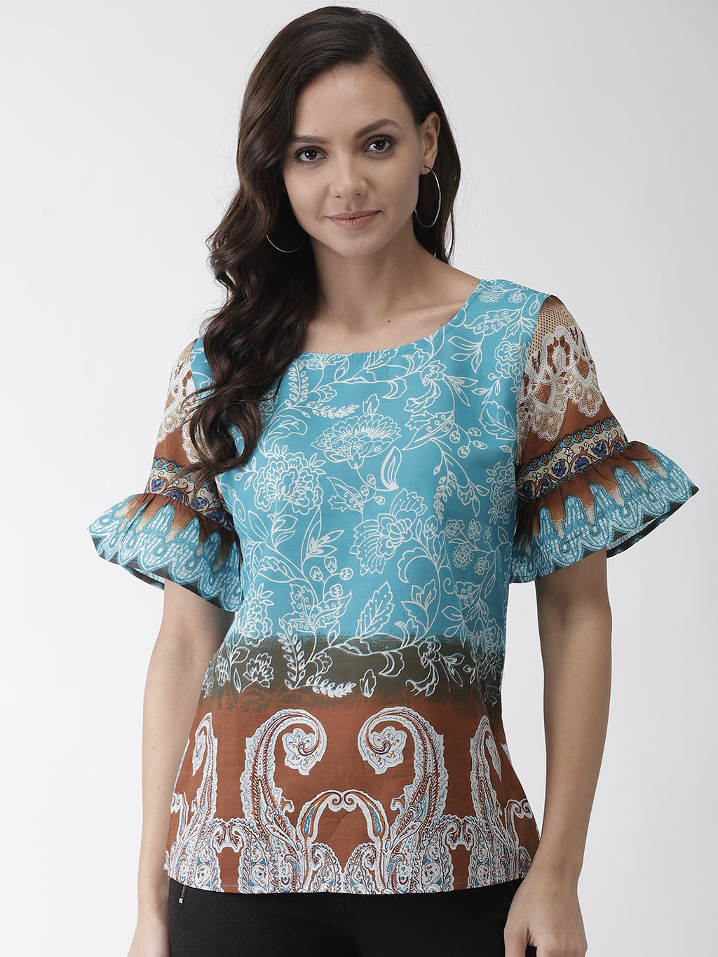 Women Blue & Brown Printed Top