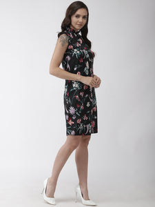 Women Black Floral Print A-Line Dress