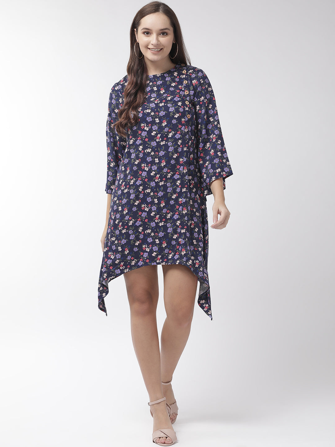 Women Navy Blue & Pink Floral Print A-Line Dress