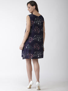 Women Navy Blue & White Floral Printed A-Line Dress
