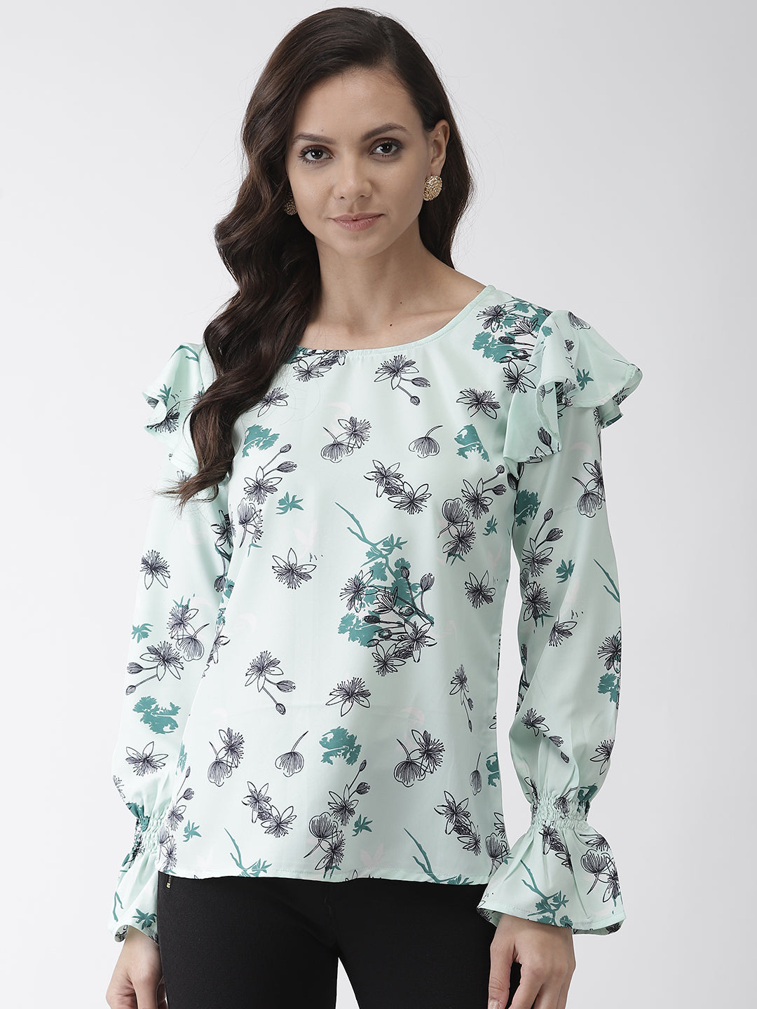 Women Green & Navy Blue Printed Top