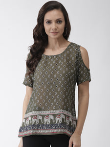 Women Olive Green & Navy Blue Printed Cold Shoulder Top