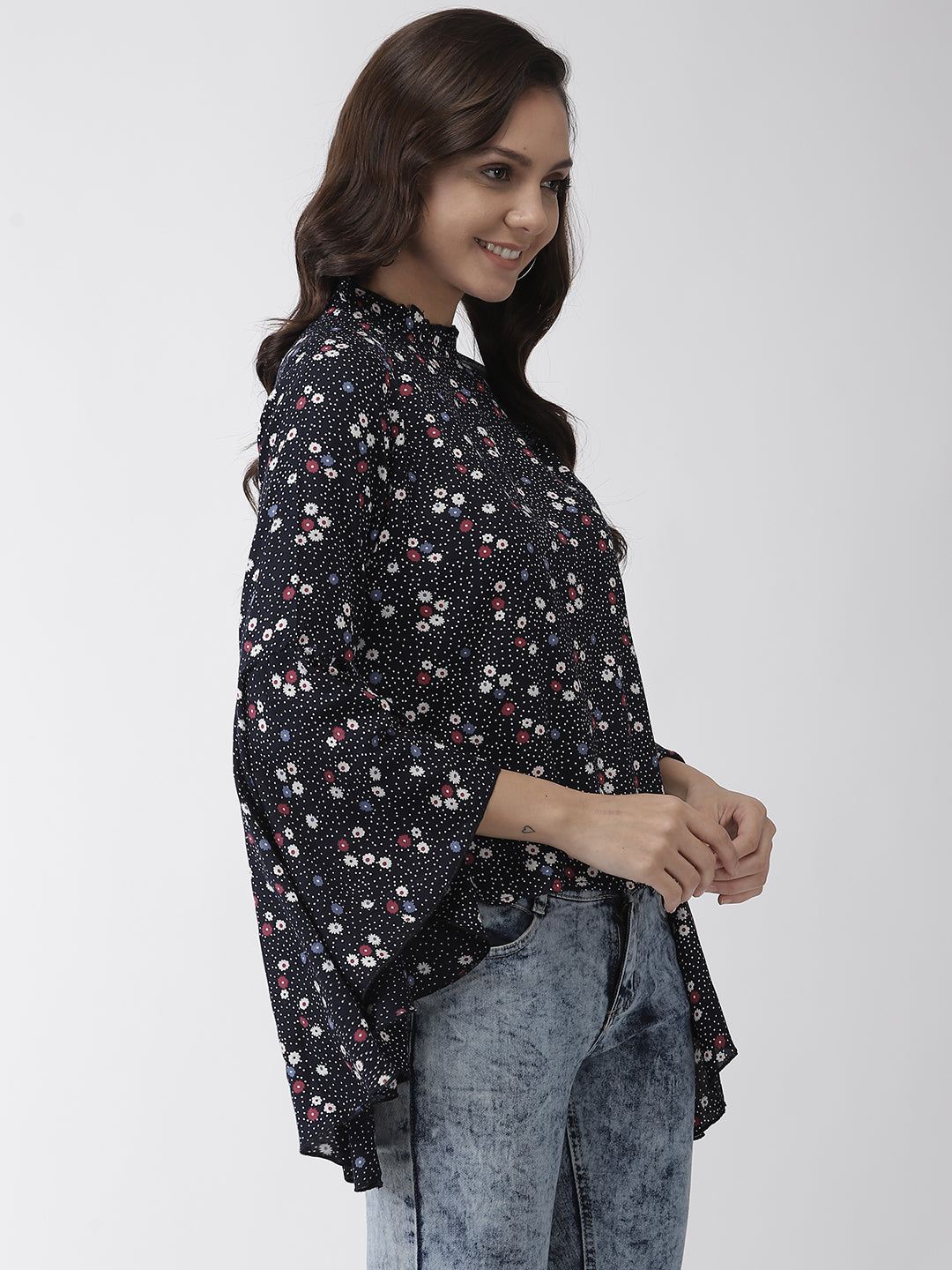 Rue Collection Women Navy Blue & White Floral Print Top