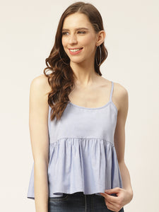 Women Blue Solid Pure Cotton Cinched Waist Top