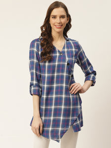 Women Blue & White Checked Top