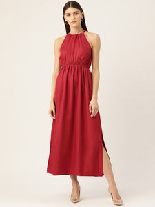 Women Rust Red Solid Maxi Dress