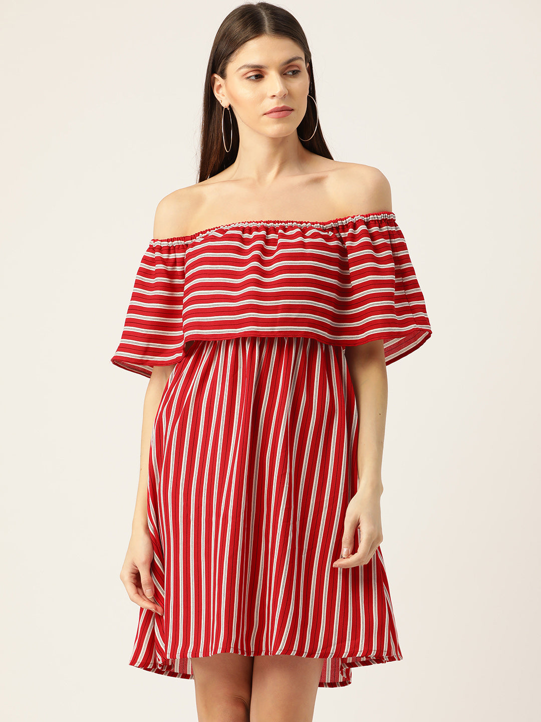 Women Red & White Striped Off-Shoulder A-Line Dress