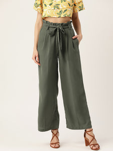Women Olive Green Regular Fit Solid Parallel Trousers
