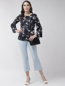 Women Navy Blue & Grey Floral Print Top