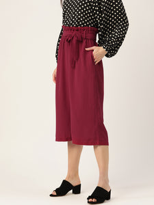 Women Maroon Straight Fit Solid Culottes