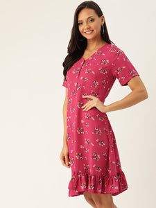 Rue Collection Women Pink & White Floral Printed A-Line Dress