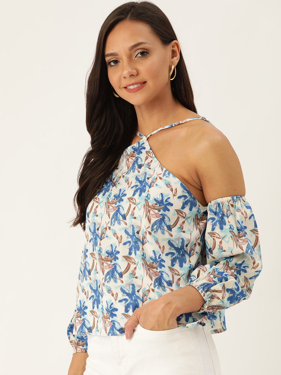 Rue Collection Women White & Blue Floral Print Regular Top