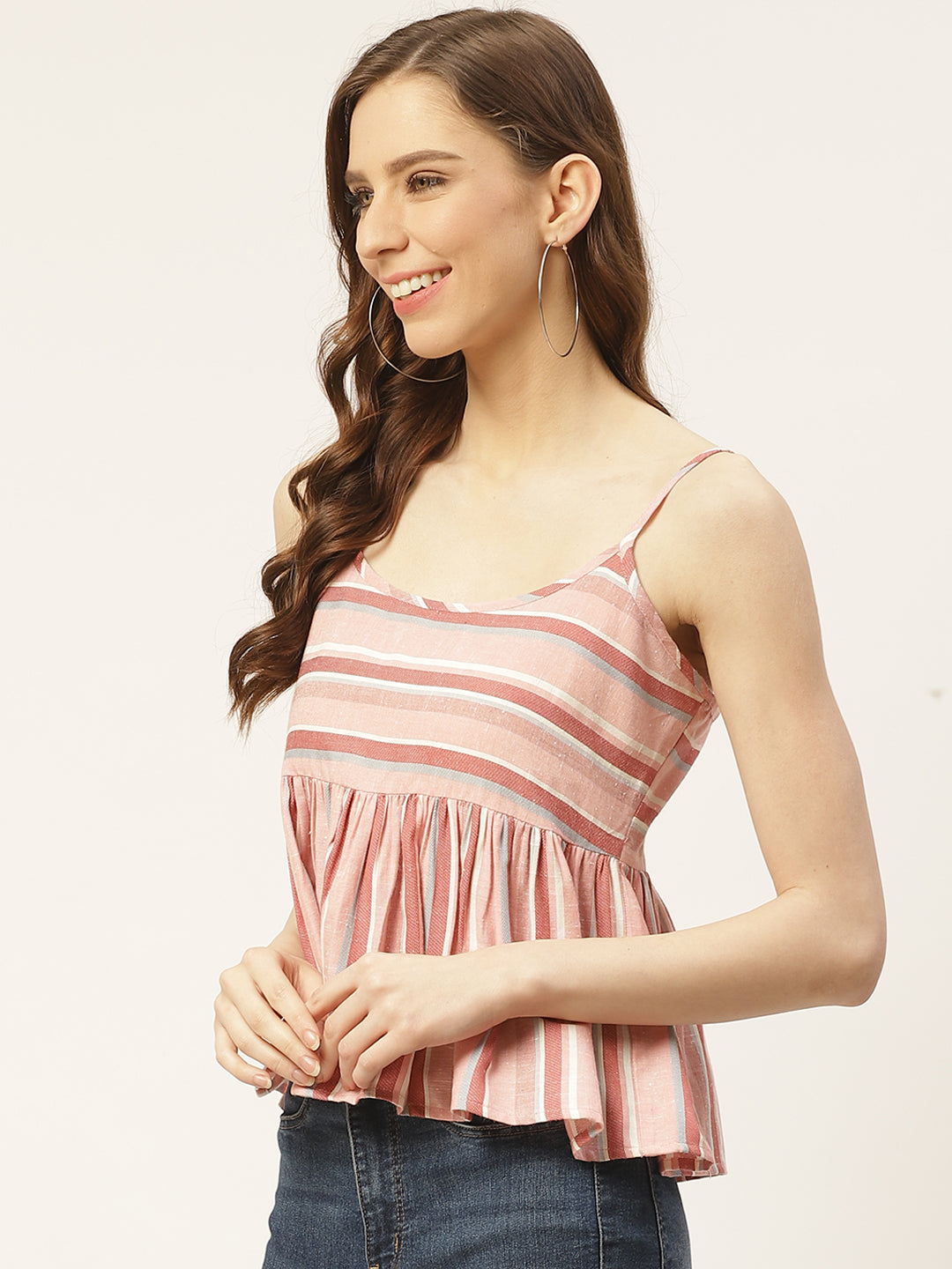 Women Pink & White Pure Cotton Striped A-Line Top