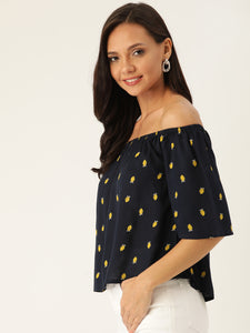 Rue Collection Women Navy Blue & Olive Green Printed Bardot Top