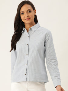 Rue Collection Women Blue & White Regular Fit Striped Casual Shirt