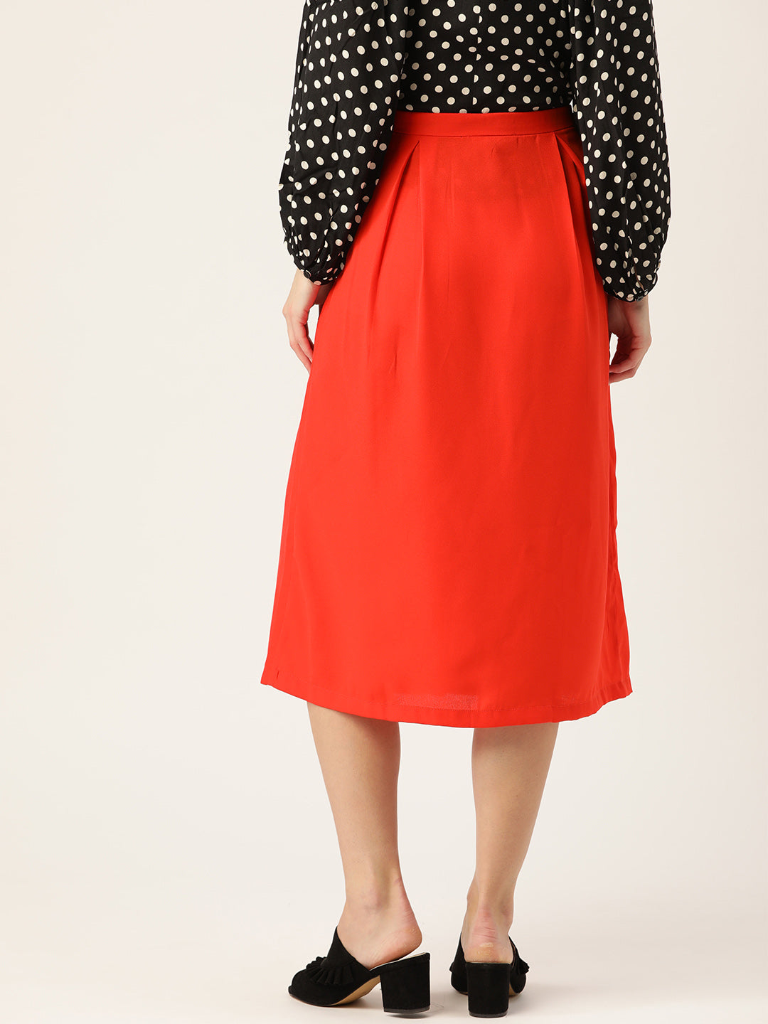 Women Red Solid Midi A-line Skirt