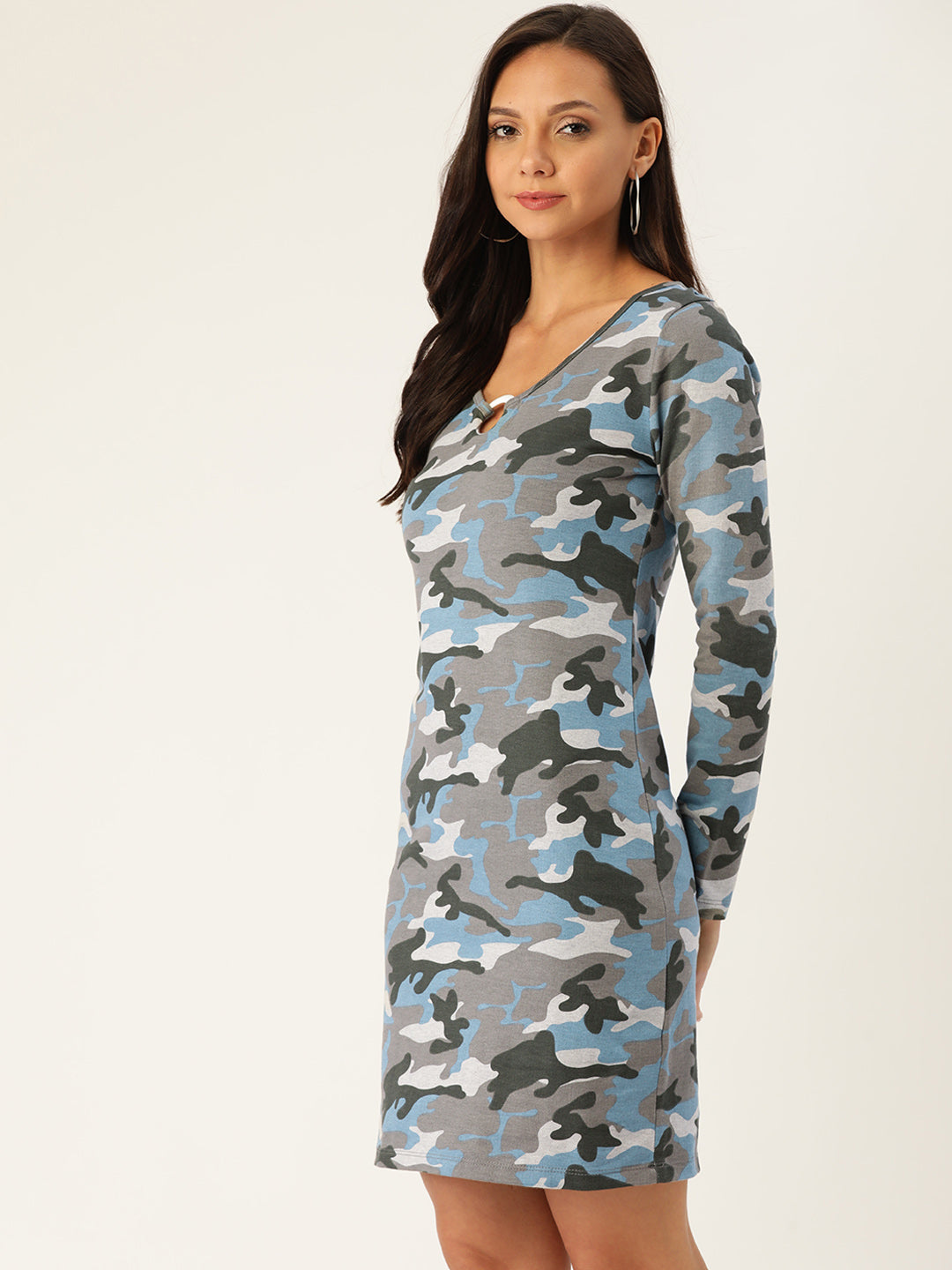 Rue Collection Women Grey & Blue Camouflage Printed Sheath Dress