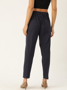 Rue Collection Women Navy Blue Comfort Fit Solid Cropped Regular Trousers