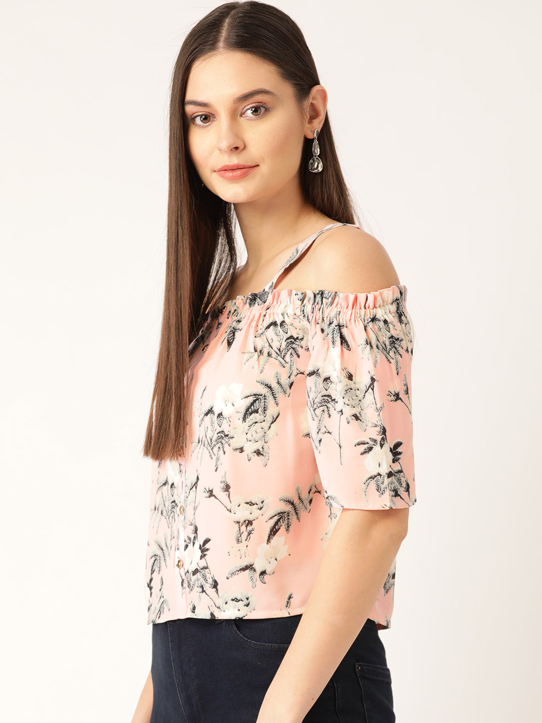 Women Pink & Mint Green Printed Bardot Top