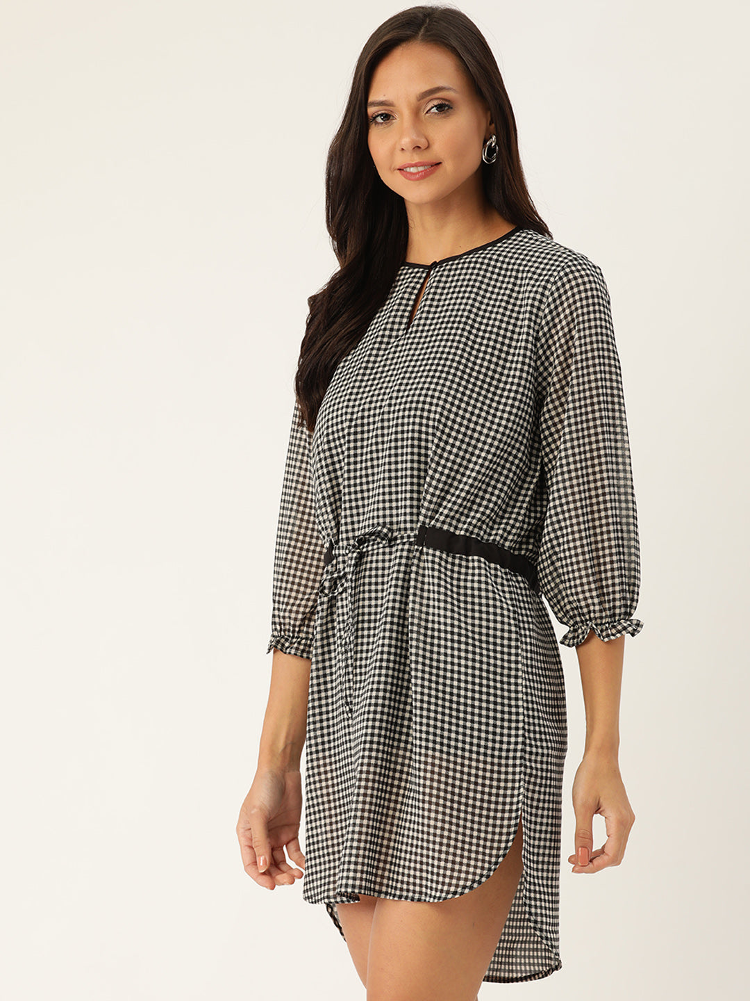 Rue Collection Women White & Black Checked A-Line Dress