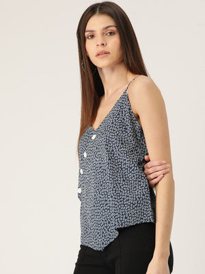 Women Navy Blue & White Printed Wrap Top