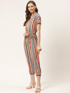 Women Multicolored Striped Capri Jumpsuit